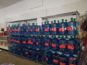 bottles of water at Qu'appelle grocery store