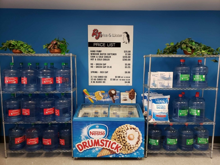 store front in Regina RJs ice and water