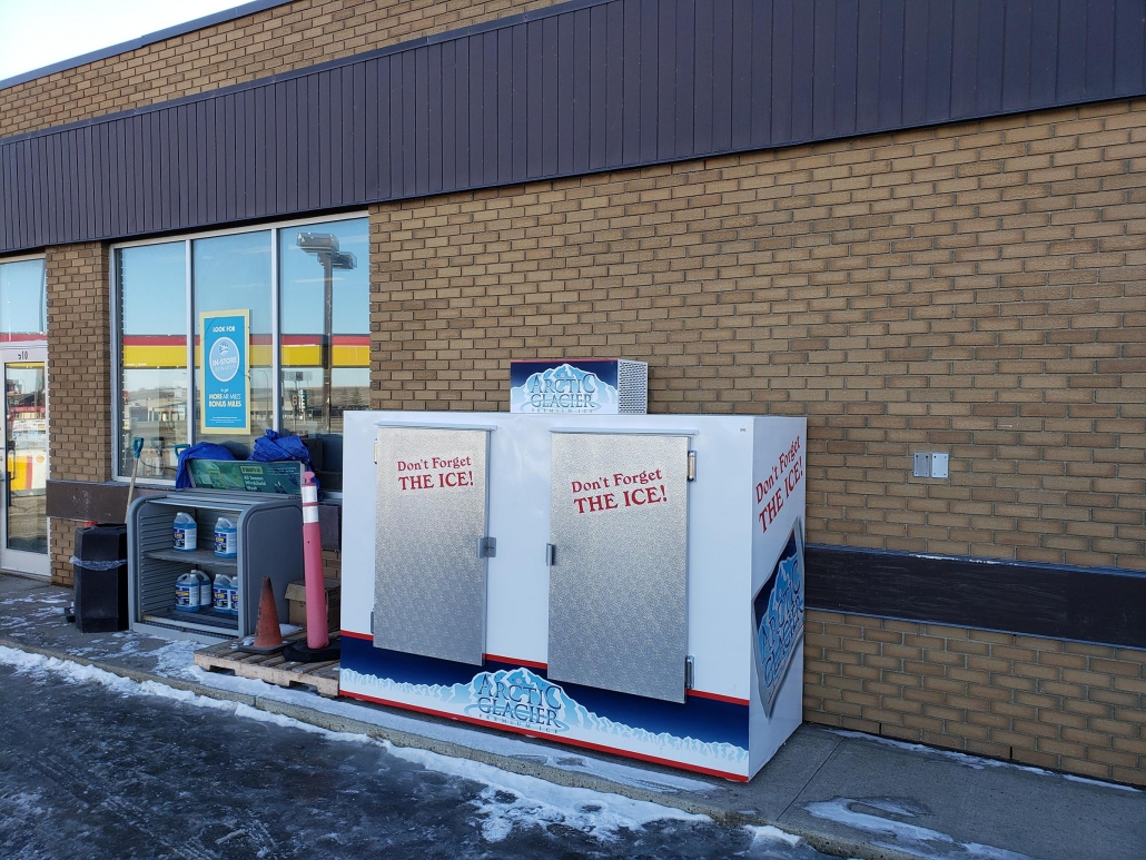 ice delivery and pickup and Swift Current